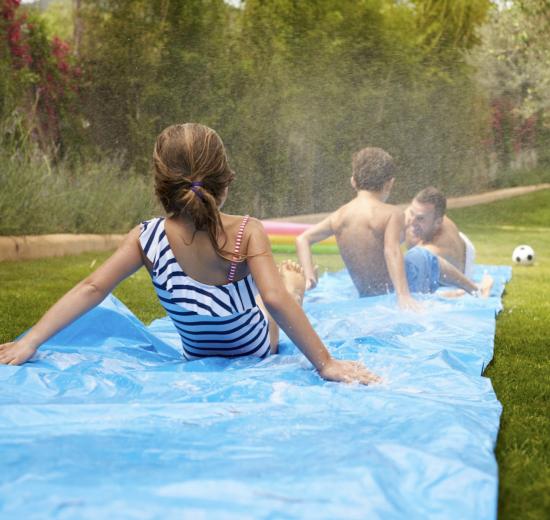 Children on Slip 'N Slide